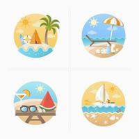 Sommarsemester ikoner set vektor