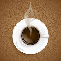 Kopp kaffe på kaffebönor bakgrund vektor