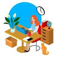 Flache Illustration des isometrischen Büroangestellten. Schöne junge Charakterfunktion. Onlinegeschäft. Geschäftsleute Konzept. Bildung. Frau bei der Arbeit.