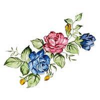 Akvarell vinter- och nyårsblom- och lövbukett