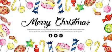 Akvarell Blommig Merry Christmas Banner