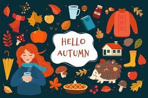 Gezeichnete Elementsammlung des Herbstes Hand mit Beschriftung auf dunklem Hintergrund