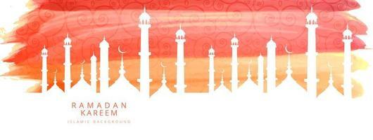 Ramadan Kareem eleganta akvarell banner