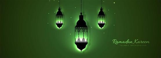 Vacker grön lykta Ramadan kareem mall