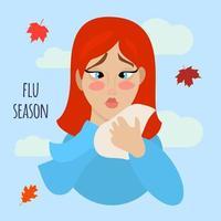 Influensa och kall platt illustration.