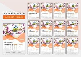 Kostenlose Wandkalendervorlage 2020 vektor