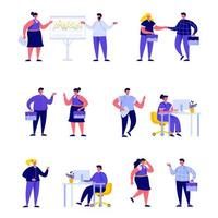 Uppsättning av plana kontorsarbetare som möter och pratar