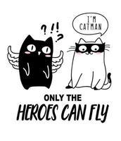 Handgezeichnete süße Katze für T-Shirt-Druck vektor