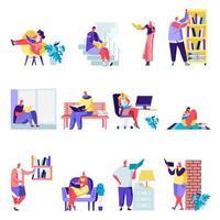 Uppsättning av platta människor som läser böcker runt huset vektor