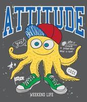 Handritad cool bläckfisk för t-shirttryck