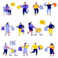 Uppsättning av platta människor som shoppar med påse och vagnar