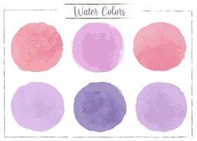 Rote, rosa, lila, dunkelpurpurne Aquarellstellen auf einem weißen Hintergrund.