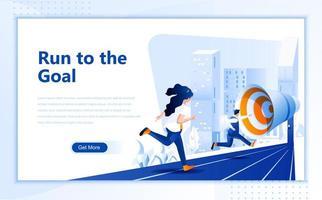 Führen Sie zum Ziel der Entwurfsvorlage für flache Webseiten