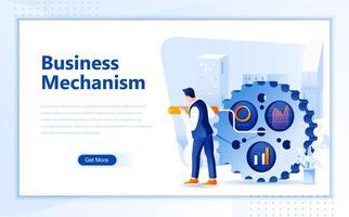 Web-Landingpage-Schablone des Geschäftsmechanismus flache vektor