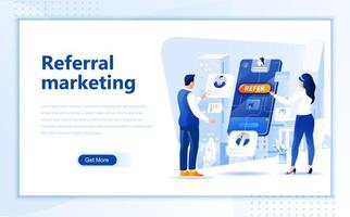 Vorlage für Referral-Marketing-Flat-Web-Landing-Page vektor