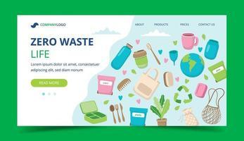 Landningssida med noll avfall med ekologiska element vektor