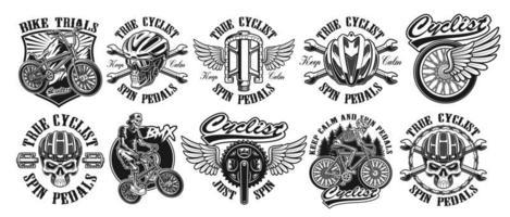 Satz schwarze Weinlese-Radfahrer-Logos