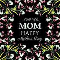 Glückliches dunkles Blumenkarten-Design der Mutter Tages vektor