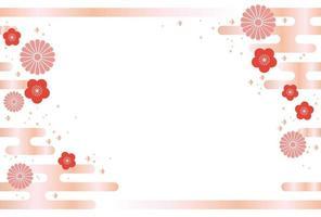 Japanische nahtlose Kartenrosaschablone des neuen Jahres.