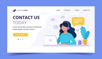 Kontaktieren Sie uns Landing Page mit Frau vektor