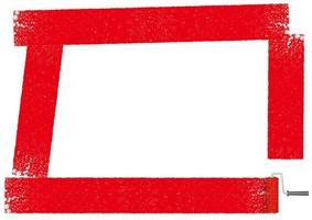 Rektangelram målad med en röd färgrulle.