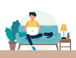 Man med bärbara datorn på soffan vektor