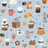 Kaffeemuster, verschiedene Kaffeeelemente vektor