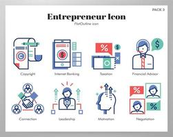 Entreprenör ikoner Flat Outline pack