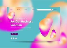 Landing Page Template mit Farbverlauf Hintergrund Liquid Effect vektor