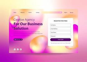 Füllen Sie das Formular Landing Page Design mit flüssigem Farbverlaufseffekt aus