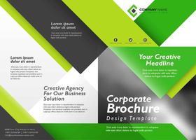 Vorder- und Rückseite Corporate BrochureTemplate mit grüner und schwarzer Farbe