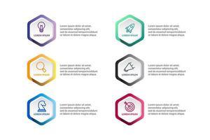 Polygon Infografik Vektor-Design mit Symbolen Optionen oder Schritten
