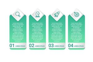 Infografik-Design mit 4 Symbolen Optionen oder Schritten
