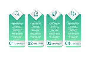 Infographic design med fyra ikoner alternativ eller steg
