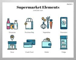 Supermarket element Line Color pack vektor