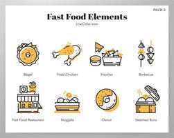 Fast-Food-Elemente Line Color Pack vektor