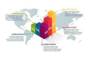 Geschäft Infografik Design mit Welt Kartenhintergrund vektor