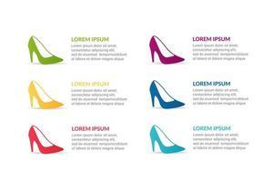 Schuh Infografik Design mit Optionen oder Liste vektor
