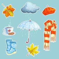 Set regnerische themenorientierte Aufkleber
