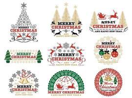 Uppsättning jul emblem uppsättning vektor