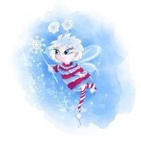 Winterfee in einem warmen Pullover und gestreiften Socken