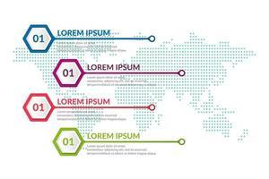 affärsinfografisk design med världskartabakgrund vektor