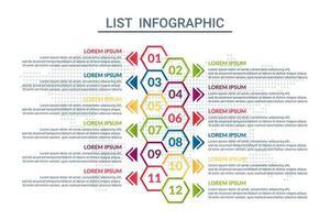 lista infographic design med världskarta bakgrund vektor
