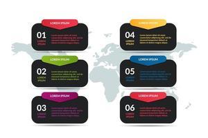 Liste Infografik Design mit Welt Kartenhintergrund vektor