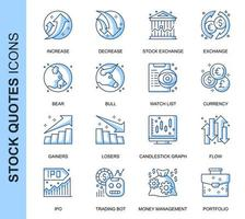 Blå tunn linje aktiekurser Relaterade ikoner set vektor