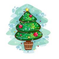 Julgran dekorerad med bollar och girlander