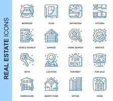 Blå tunn linje fastighetsrelaterade ikoner set