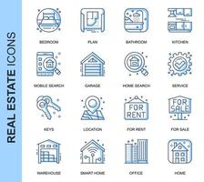 Blaue dünne Linie Real Estate Related Icons Set
