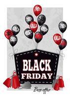 Stilisiertes Black Friday-Etikett mit schwarzen und roten Luftballons
