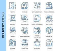 Blå tunn linje leverans relaterade ikoner set